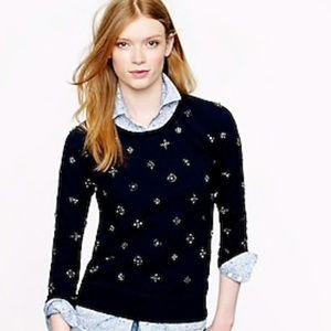 Jcrew Jeweled Sweatshirt in Navy